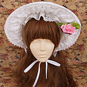 Handmade Blanc Coton Pays Lolita Bonnet