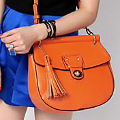 Lady's Vintage Tassel Solid Color Crossbody Bag