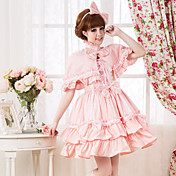 Lyhythihainen Polvipituinen Pink Cotton Makea Lolita Dress Kap