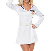 Cute Girl White Polyester Dress Naval Uniform (3 Pieces)