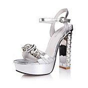 Fashion Leather Chunky Heel Sandals With Rhinestone And Jewelry Heel Party/Evening Shoes