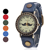 Women's Mustache Style Leather Analog Quartz Wrist Watch (Assorted Colors)