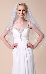 Two-tier Elbow Wedding Veil With Cut Edge