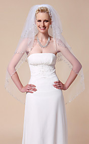 Three-tier Fingertip Wedding Veils With Beaded Edge