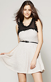 TS Splicing Mesh Ruffle Dress