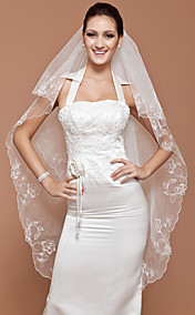 One-tier Tulle Waltz Veil With Scalloped Edge (More Colors Available)