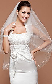 One-tier Tulle Fingertip Veil With Cut Edge (More Colors Available)