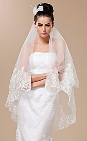 Two-tier Fingertip Length Wedding Veil With Lace Applique Edge