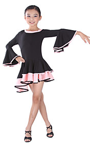 Dancewear Polyester Long Sleeve Latin Dance Dress For Kids