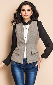 TS Contrast Color Splicing Vest Style Tweed Jacket