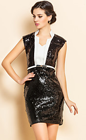 TS Contrast Collar Sequin Self Belt Sheath Dress