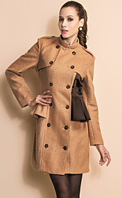 TS Double Breast Contrast Color Stand Collar Tweed Coat