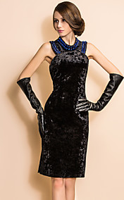 TS VINTAGE Beads Velvet Sleeveless Sheath Dress