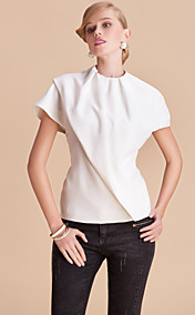 TS Simplicity Round Collar Solid Cutting Blouse Top