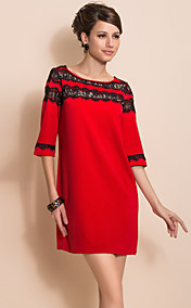 TS Contrast Collar Lace Stikkende Three Quarter Dress
