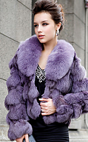 Long Sleeve Shawl Collar Fox Fur Casual/Office Jacket (More Colors)