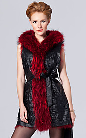 Hooded Collar Lambskin Leather & Raccoon Fur Casual/Party Vest (More Colors)