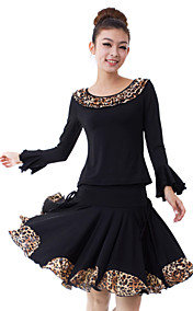 Dancewear Viscose Leopard Printed Latin Dance Outfits Top and Skirt For Ladies