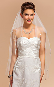 Two-tier Fingertip Wedding Veil With Pearl Trim Edge