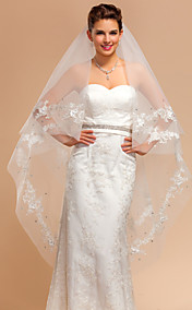 One-tier Waltz Wedding Veils With Lace Applique/Finished Edge