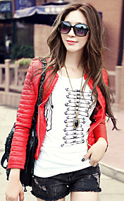 Fashion Long Sleeve Collarless PU Casual/Party Jacket(More Colors)