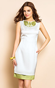 TS Simplicity Contrast Collar Sheath Dress