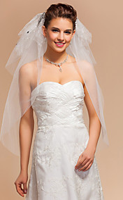 Three-tier Elbow Wedding Veils With Cut Edge