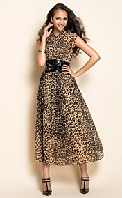 ts Leoparden Grtel midi Kleid
