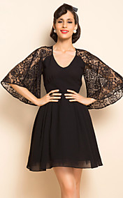 TS VINTAGE Lace Flare Sleeve Chiffon Dress
