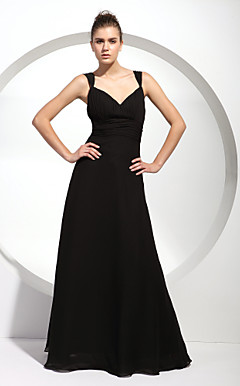 A-line Straps Floor-length Chiffon Bridesmaid/ Wedding Party Dress
