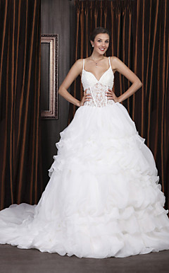Ball Gown Spaghetti Straps Court Train Organza Tiered Wedding Dress