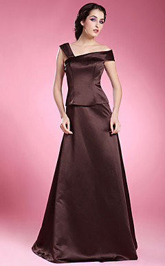 A-line Off-the-shoulder Floor-length Satin Mother of the Bride Dress