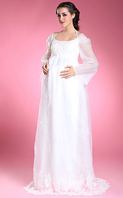 Sheath/ Column Illusion Long Sleeve Sweep/ Brush Train Maternity Wedding Dress