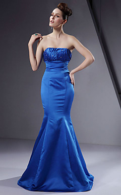 Trumpet / Mermaid Strapless Floor-length Satin Bridesmaid/ Wedding Party Dress