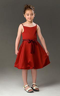 A-line Spaghetti Straps Knee-length  Satin Flower Girl Dress