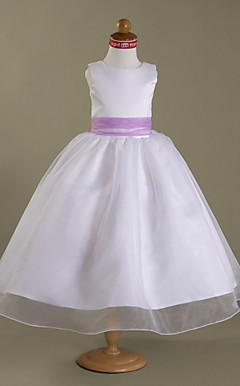 A-line Jewel Tea-length Satin And Organza Flower Girl Dress
