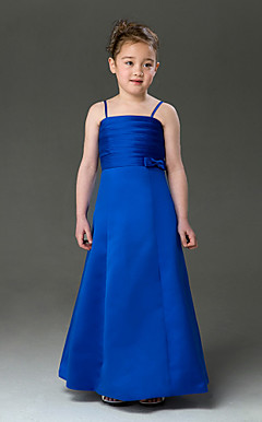 A-line Spaghetti Straps Floor-length Satin Flower Girl Dress