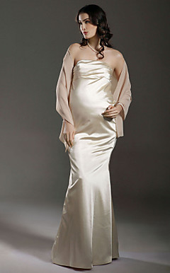 Empire Strapless Floor-length Satin Chiffon Maternity Wedding Dress With A Wrap