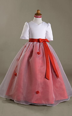 Ball Gown V-neck Floor-length Satin Organza Flower Girl Dress