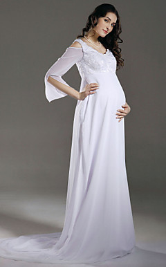 Sheath/ Column Empire V-neck Chiffon Maternity Wedding Dress With Beaded Appliques