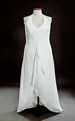 Sheath/ Column Halter Asymmetrical Chiffon Plus Size Wedding Dress