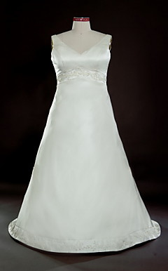 A-line V-neck Sweep/ Brush Train Satin Plus Size Wedding Dress