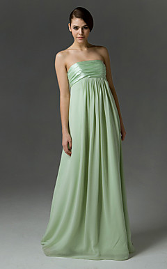 Empire Strapless Floor-length Chiffon/Charmeuse Bridesmaid/Wedding Party Dress