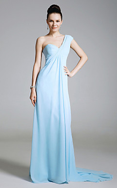 Chiffon Sheath/Column One Shoulder Sweep Train Evening Dress inspired by Lara Spencer at Emmy Awards