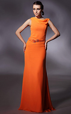 Chiffon Sheath/ Column Jewel Floor-length Evening Dress inspired by Christina Hendricks at Emmy Award