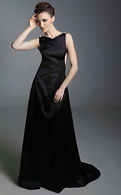 Stretch Satin A-line Bateau Sweep Train Evening Dress inspired by Simona Ventura at Venice Film Festival