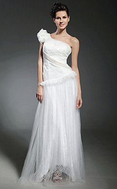 A-line One Shoulder Floor-length Tulle Evening Dress inspired by Kirsten Dunst