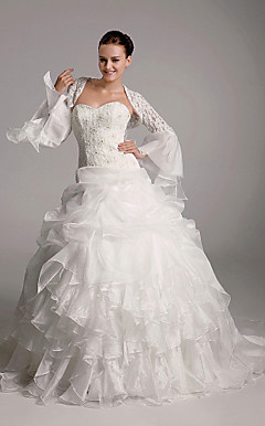 Ball Gown Sweetheart Court Train Organza Tiered Wedding Dress with Wrap
