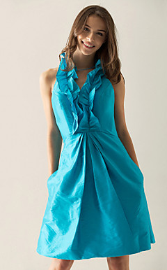 A-line V-neck Short/ Mini Taffeta Cocktail Dress With Ruffles