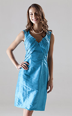 Sheath/Column V-neck Knee-length Taffeta Bridesmaid/Wedding Party/Homecoming Dress